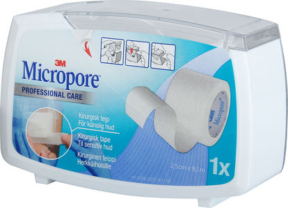 Micropore Tape, Professional Care hvit 2,5cmx9,14m m/lukket dispenser 1stk