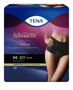 TENA Silhouette Plus High Waist buksebleie str. M 9 stk Sort
