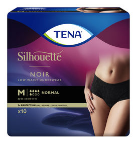 TENA Silhouette Normal Low Waist buksebleie str. M 10 stk Sort