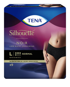 TENA Silhouette Normal Low Waist buksebleie str. L 9 stk Sort
