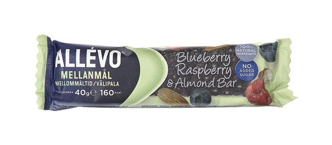 ALLEVO BLUEBE RASPB/ALMOND BAR