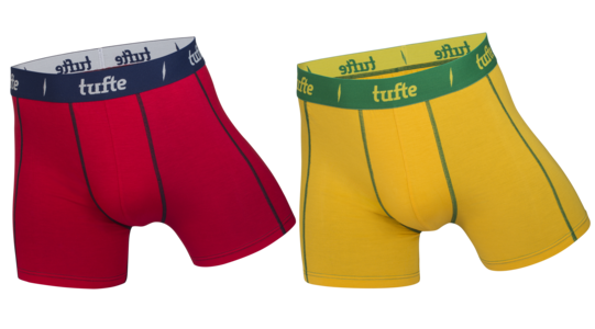 Tufte herreboxer yellow / red XXL