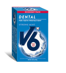 V6 Dental Care tyggegummi med mintsmak 72g