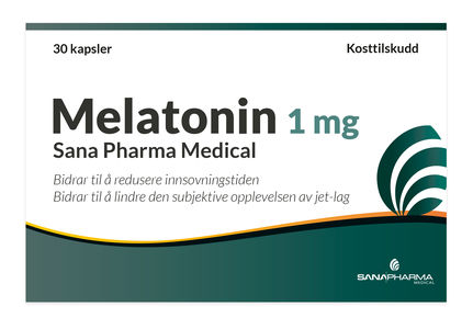 Melatonin 1 mg Sana Pharma Medical, 30 kapsler