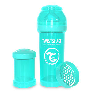 Twistshake Tåtflaske Turquoise 260 ml inkl. Powderbox.